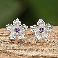 Amethyst stud earrings, 'Winter Blooms'