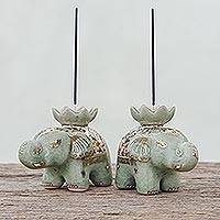 Benjarong celadon ceramic incense holders, 'Benjarong Elephants' (pair) - Benjarong Celadon Ceramic Elephant Incense Holders (Pair)