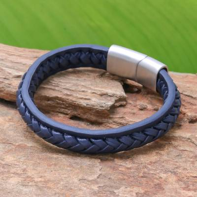 Leather braided wristband bracelet, 'Cool Style in Midnight' - Midnight Leather Braided Wristband Bracelet from Thailand