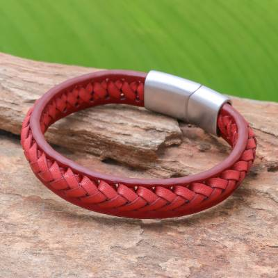 Leather braided wristband bracelet, 'Cool Style in Crimson' - Crimson Leather Braided Wristband Bracelet from Thailand