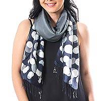 Batik silk scarf, 'Bubbles in Charcoal' - Hand-Painted Batik Silk Scarf in Charcoal from Thailand