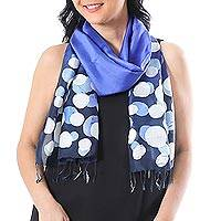 Batik silk scarf, 'Bubbles in Lapis' - Hand-Painted Batik Silk Scarf in Lapis from Thailand