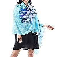 Batik silk shawl, 'Watery Love' - Hand-Painted Blue Batik Silk Shawl from Thailand