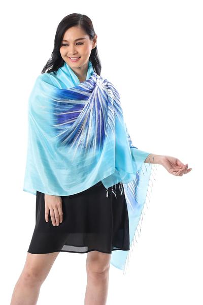 Hand-Painted Blue Batik Silk Shawl from Thailand
