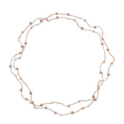 Gold Plated Quartz Beaded Pendant Necklace from Thailand
