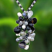 Agate and cultured pearl pendant necklace, 'Fascinating Cluster' - Agate and Cultured Pearl Beaded Cluster Pendant Necklace