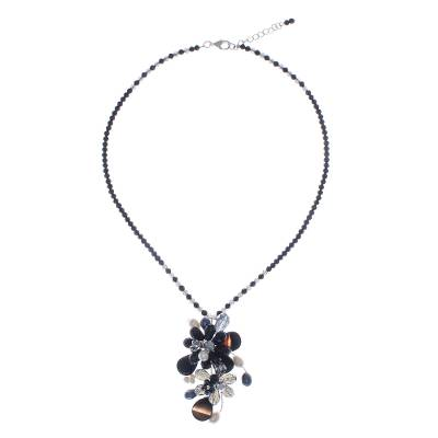 Agate and Cultured Pearl Beaded Cluster Pendant Necklace