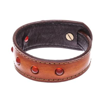 Carnelian and Brown Leather Wristband Bracelet from Thailand