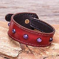 Amethyst and leather wristband bracelet, 'Mystical Meteor' - Amethyst and Red Leather Wristband Bracelet from Thailand