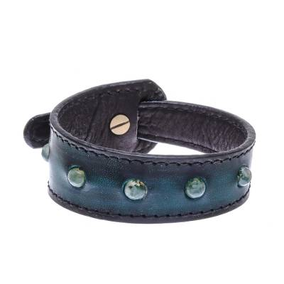 Blue-Green Agate and Leather Wristband Bracelet