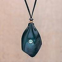 Men's howlite and leather pendant necklace, 'Thai Cowboy in Blue' - Men's Howlite and Leather Pendant Necklace in Blue