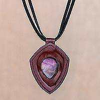 Amethyst and leather pendant necklace, 'Bold Shield' - Amethyst and Leather Pendant Necklace from Thailand