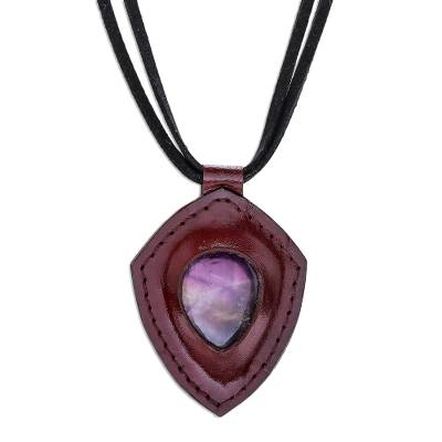 Amethyst and Leather Pendant Necklace from Thailand