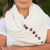 Cotton convertible scarf, 'Dreamscape in Snow White' - Knit Cotton Convertible Scarf in Snow White from Thailand