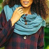 Cotton convertible scarf, 'Dreamscape in Teal' - Knit Cotton Convertible Scarf in Teal from Thailand
