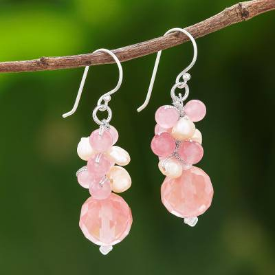 Quartz and cultured pearl beaded dangle earrings, 'Soft Pink Love' - Pink Quartz and Cultured Pearl Beaded Dangle Earrings