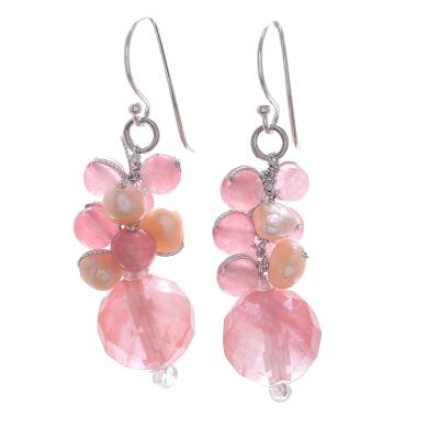 Pink Quartz and Cultured Pearl Beaded Dangle Earrings