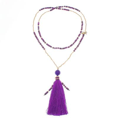 Bohemian Purple Quartz Beaded Pendant Necklace