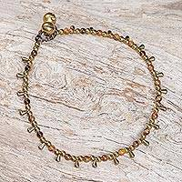 Tiger's eye beaded charm anklet, 'Bohemian Shower' - Tiger's Eye Beaded Charm Anklet from Thailand