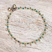 Serpentine beaded charm anklet, 'Bohemian Shower' - Serpentine Beaded Charm Anklet from Thailand