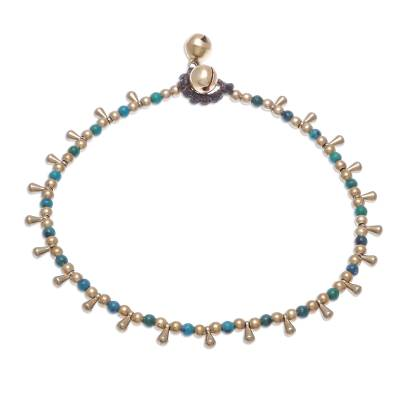 Serpentine Beaded Charm Anklet from Thailand