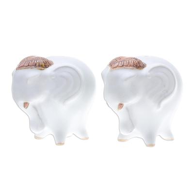 Ceramic Elephant Salt and Pepper Shakers in White (Pair)