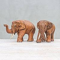 Wood sculptures, 'Elephant Buddies' (pair) - Handmade Teakwood Elephant Sculptures from Thailand (Pair)