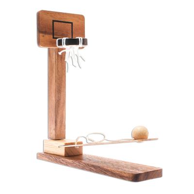 Wood game, 'Basketball Fun' - Raintree Wood Miniature Basketball Game from Thailand