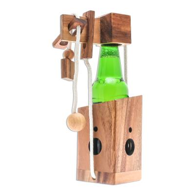 Wood puzzle, 'Open the Bottle' (5.5 inch) - Handmade Wood Bottle Holder and Puzzle (5.5 Inch)