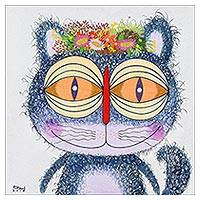 'Flora Blue Cat' - Signed Naif Painting of a Blue Cat from Thailand
