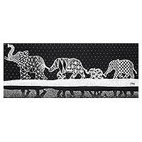 'Family' - Signed Black and White Painting of an Elephant Family