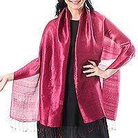 Silk scarf, 'Shimmering Magenta' - Handwoven Silk Wrap Scarf in Magenta from Thailand