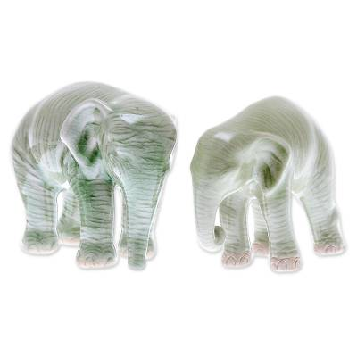 Celadon Ceramic Figurines of Two Elephants from Thailand