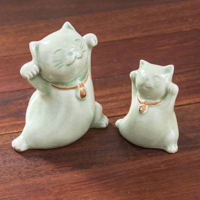 Celadon ceramic figurines, 'Cats of Fortune' (pair) - Celadon Ceramic Cat Figurines from Thailand (Pair)