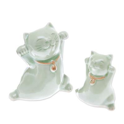 Celadon Ceramic Cat Figurines from Thailand (Pair)