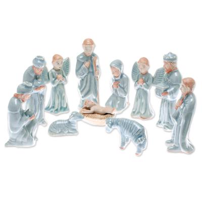 Celadon Ceramic Nativity Scene from Thailand (11 Piece)