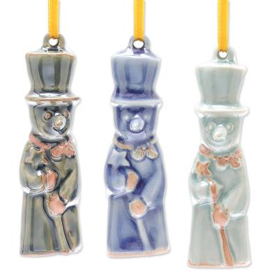 Celadon Ceramic Snowman Ornaments from Thailand (Set of 3)