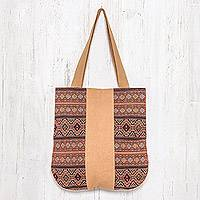 Cotton shoulder bag, 'Lanna Caramel' - Geometric Cotton Shoulder Bag in Caramel from Thailand