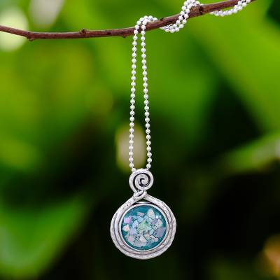 Roman glass pendant necklace, Glittering Moon