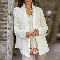 Cotton cardigan, 'Zigzag Knit in White' - Knit Cotton Cardigan in White from Thailand