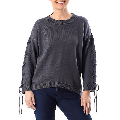 Cotton pullover, 'Cool Cross in Flint' - Knit Cotton Pullover in Flint from Thailand