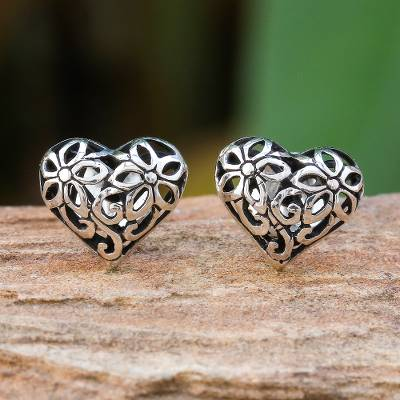 Sterling silver stud earrings, 'Filled with Flowers' - Heart-Shaped Floral Sterling Silver Stud Earrings