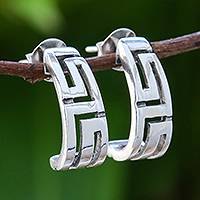 Sterling silver drop earrings, 'Geometric Maze' - Geometric Sterling Silver Drop Earrings from Thailand