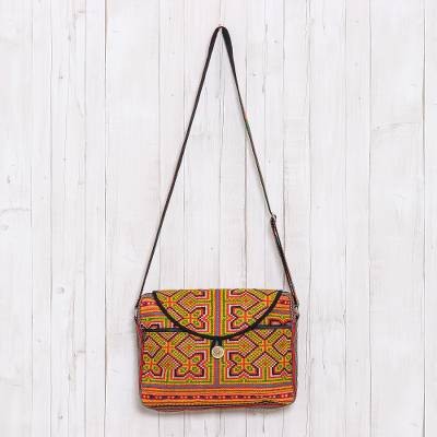 Cotton blend messenger bag, 'Colorful Hmong' - Geometric Hmong Cotton Blend Messenger Bag from Thailand