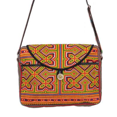 Geometric Hmong Cotton Blend Messenger Bag from Thailand
