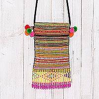 Cotton blend sling, 'Hmong Stripes' - Striped Hmong Cotton Blend Sling from Thailand