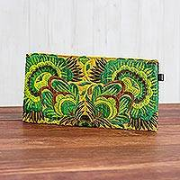 Cotton blend clutch, 'Magic Flower' - Green Floral Cotton Blend Clutch from Thailand