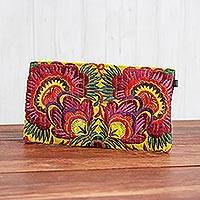 Cotton blend clutch, 'Mystical Flower' - Floral Embroidered Cotton Blend Clutch from Thailand