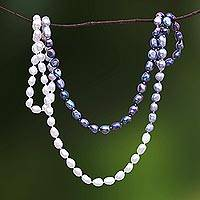 Cultured pearl beaded long necklace, 'Blissful Woman in Grey' - Cultured Pearl Beaded Long Necklace in Grey from Thailand
