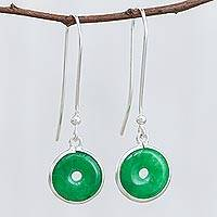 Jade dangle earrings, 'Green Rings' - Circular Jade Dangle Earrings Crafted in Thailand